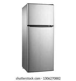 Top Mount Fridge Isolated on White Background. Side View of Stainless Steel Double Door Refrigerator. Modern Kitchen and Household Domestic Appliances. Full Frost Free Freezer