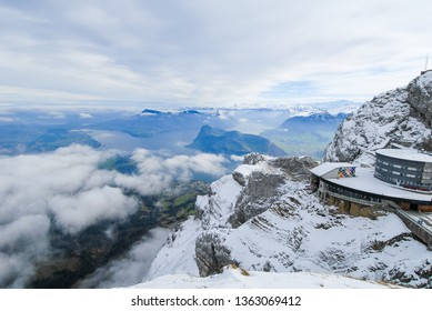 Top of Mount Pilatus in autumn - Aerial tram Station, Canton of Obwalden / Nidwalden / Lucerne, Central Switzerland, Switzerland