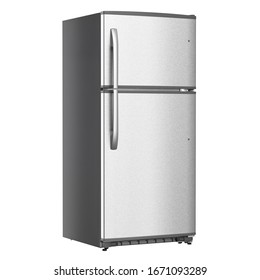 Top Mount Refrigerator Isolated on White Background. Modern Stainless Steel Fridge Freezer. Electric Kitchen and Domestic Major Appliances. Front View of Two Door Top-Freezer Fridge Freezer