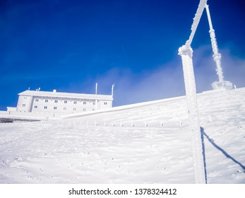 Top of Mount Rigi after snow in autumn  - Hotel covered with ice, Rigi Kulm, Canton of Lucerne / Schwyz, Central Switzerland, Switzerland
