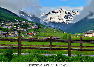 Top mountain summer view from downtown Livigno