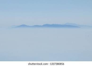 Top of mountain view with mist on morning