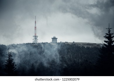 "The top of the mystical mountain ""Brocken"" is shown in the fog"
