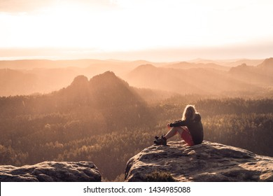At the top of the National park Saxon Switzerland - Shutterstock ID 1434985088