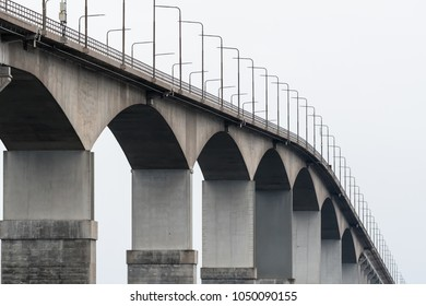 The top of The Oland Bridge in Sweden. The bridge is connecting mainland Sweden to the island Oland in the Baltic Sea.