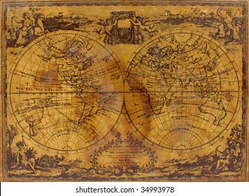 The top of an old box is decorated with a vintage map, circa 1788. See the entire map collection: http://www.shutterstock.com/sets/22217-maps.html?rid=70583