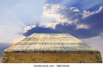 top of old wood table against beautiful sky with copy space use for multipurpose background backdrop