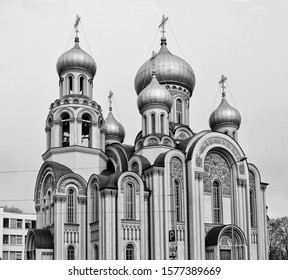 Top of Orthodox Church St. Constantine and St. Michael in Vilnius. Close up. Black White photography. Architecture in Baltic countries. Lithuania, Vilnius – April 27, 2017