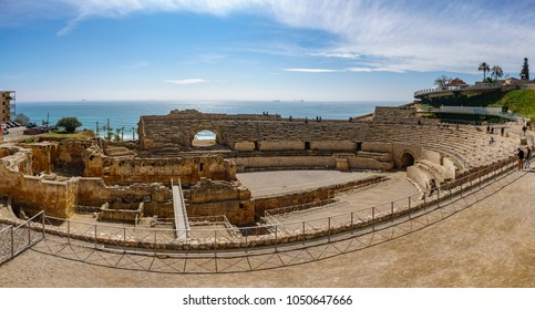 Top panoramic view of the ancient roman amphitheater of Tarragona next to the Mediterranean sea
