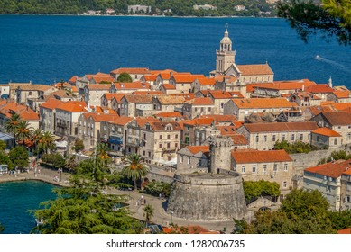 Top panoramic view of Old town and fortress of Korcula, Korcula Island, Croatia.