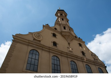 Top part of the facade of the 17th-century Evangelical-Lutheran Church of the Holy Cross (Heilig-Kreuz-Kirche) in Augsburg, Germany - Shutterstock ID 2019658919