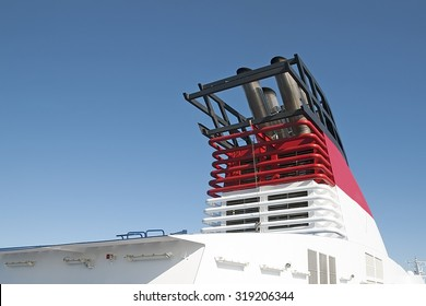 Top part of a ferry with pipes