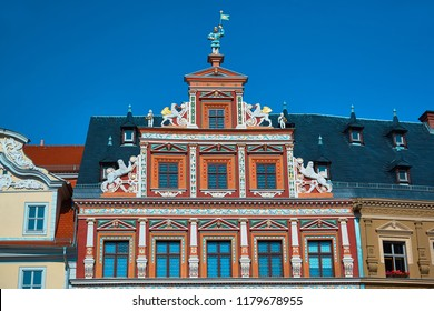 Top part of ornate historical timbered house facade in Erfurt, Thuringia, Germany