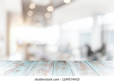 top pastel wood table with Blur Background for product display montage.