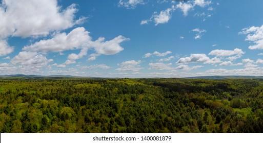 Top of Pennsylvania's Pocono Mountains rural landscape