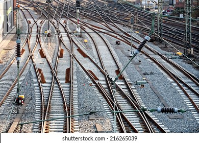 top perspective view on many railway track lines