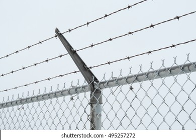 The top portion of a security chain-link fence showing rows of barbed wire.