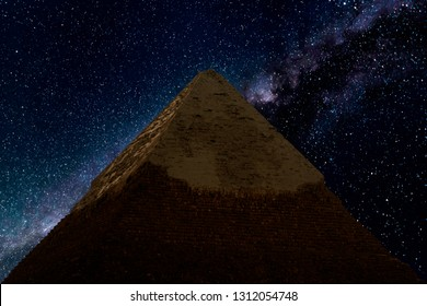 Top of the Pyramid of Khafre at night against the stars and Milky Way Galaxy. Giza, Egypt. Astrophotography, fantastic background