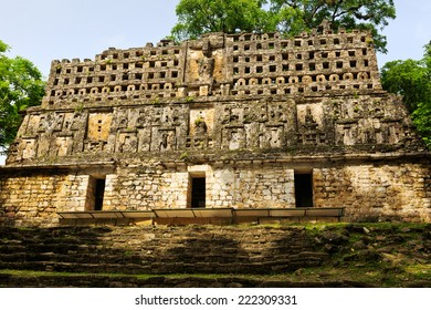 Top of a pyramid in Yaxchilan, Mexico
