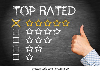 Top Rated - five stars with thumb up - excellent rating and performance