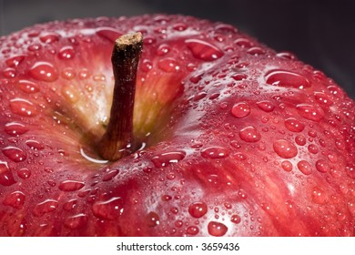 top of a red apple with dewdrop