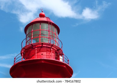 top of a red lighthouse in la Marte, Gaspésie, Québec, Canada