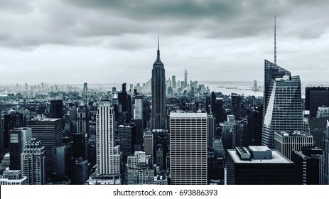 Top of the Rock - B&W - Empire State Building view