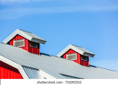 Top roof of new red barn