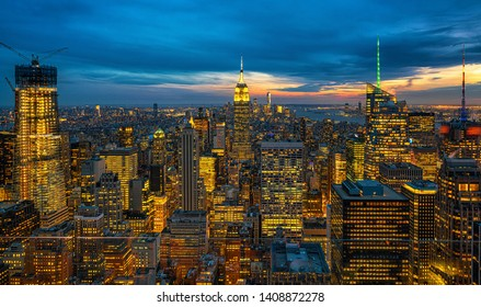 Top Scene of New York City cityscape in lower manhattan at the twilight time, USA downtown skyline, Architecture and building with tourist concept