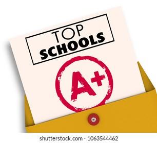 Top Schools Report Card Best Colleges Universities 3d Illustration