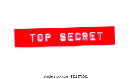 top secret embossed word on plastic tape