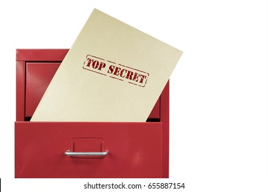 Top secret envelop in a red file cabinet, over a white background.
