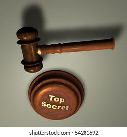 Top Secret - Judge's Wooden Gavel, close up over white