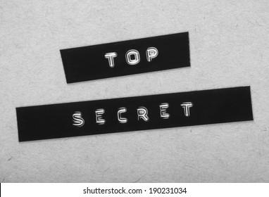 Top Secret Label in black and white for a vintage cold war era espionage design