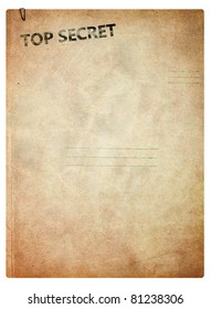 Top secret, old folder for papers isolated on white background
