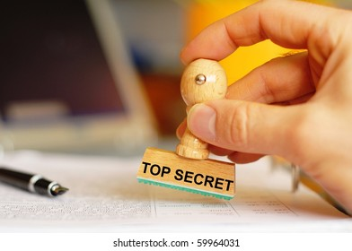 top secret stamp in intelligence office showing anti spy concept