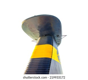Top of a ship with detail on chimney. Isolated on white background.
