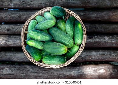 Top shot of cucumbers in the wicker basket