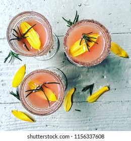 Top shot of a group of Grapefruit & Rosemary Cocktails; Margaritas or Salty Dogs.