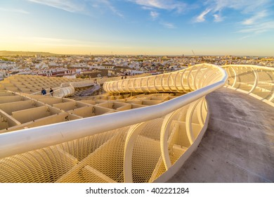 From the top of the Space Metropol Parasol (Setas de Sevilla) one have the best view of the city of Seville, Spain. It provides a unique view of the old city center and its traditional buildings.