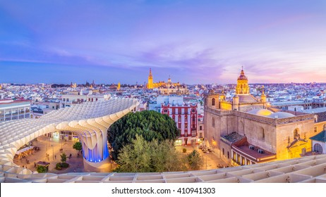 From the top of the Space Metropol Parasol (Setas de Sevilla) one have the best view of the city of Seville, Spain. It provides a unique view of the old city center and the cathedral.
