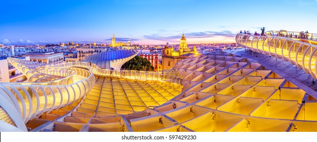 From the top of the Space Metropol Parasol (Setas de Sevilla) one have the best view of the city of Seville, Spain. It provides a unique angle over the old city center and the cathedral.
