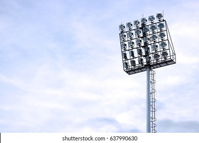 The top of spotlight pole for sports game stadium.