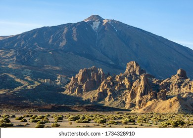 The top of the Teide mountain during a sunset, in Tenerife, Canary Islands, Spain