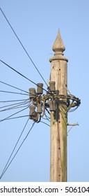 Top of a telegraph pole in landscape aspect.