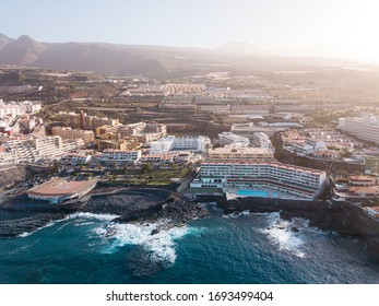 top tenerife oceanfront hotels in los giantes aerial view. Tenerife island, Canaries
