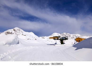 Top terminal station of the chairlift, San Simone Ski Resort, Italy.
