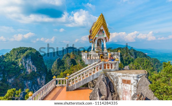 The top of  Tiger Cave temple, (Wat Tham Suea), Krabi region, Thailand