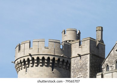 Top of tower on Arundel Castle. West Sussex. England