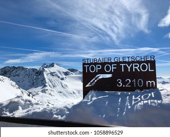 Top of Tyral - Information board at the summit of Stubai glacier winter sports area in the Austrian Alps at an altitude of 3210 meters.